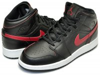 "NIKE AIR JORDAN 1 MID BG ""Gym Red"" blk/gymred-wht【正規品】【送料無料】"