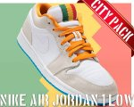 "NIKE AIR JORDAN 1 LOW ""CITY PACK-LOS ANGELES"" wht/kmqt-dk pwdr bl-l.bn【正規品】【送料無料】"