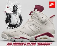 "NIKE AIR JORDAN 6 RETRO ""MAROON"" off wht/new maroon日本正規品 【交換送料無料】"