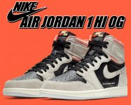 NIKE AIR JORDAN 1 HI OG neutral grey/black-hyper crimson スニーカー AJ1 メンズ SP 19 AIR JORDAN 1 HIGH OG【正規品】【送料無料】