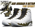 "NIKE AIR JORDAN 9 RETRO ""THE SPIRIT"" wht/blk-militia grn【正規品】【送料無料】"