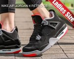 NIKE AIR JORDAN 4 RETRO(GS) BRED black/fire red-cement grey 408452-060 スニーカー AJIV ブラック レッド【正規品】【送料無料】
