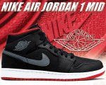NIKE AIR JORDAN 1 MID blk/cool grey-gym red日本正規品 【交換送料無料】