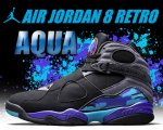 "NIKE AIR JORDAN 8 RETRO ""AQUA"" blk/t.red-f.gry-brght.c【正規品】【送料無料】"